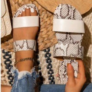 Shoes - !! RESTOCKED !! Double Strap Sandals in Snake